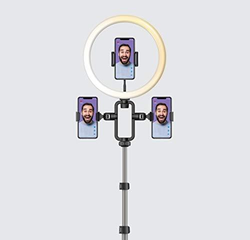 MOMAX V. Log - Lámpara LED regulable para selfie, maquillaje, transmisión en vivo, vídeo, Vlog, cámara y fotos FL3D+TR9