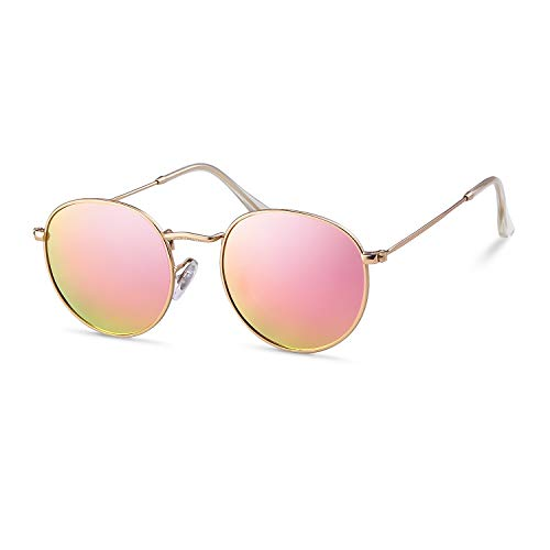ADEWU Gafas de sol redondas retro polarizadas Lente círculo para hombres Mujeres