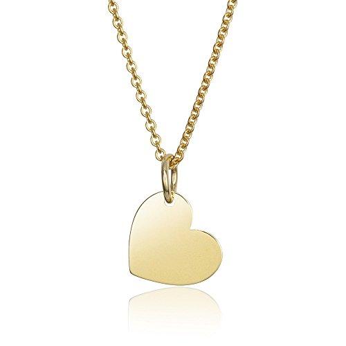MATERIA Damen Halskette mit Gravur Anhänger Herz Gold 925 Silber vergoldet 42-45cm mit Geschenk-Box #KA-442, Schrifttyp:Ohne Gravur