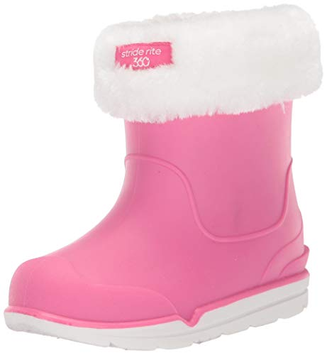 Stride Rite 360 Girl's Bellamy All-Purpose Dual fit Washable Lined Boot Rain, Pink, 10 M US Big Kid