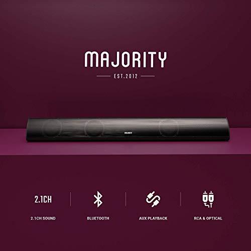Majority Snowdon II 120W Barre de Son avec Subwoofer Intégré Son Surround - 5.0 Bluetooth - Télécommande - Fixation Murale - Compatible Optique & RCA - Câble RCA Inclus