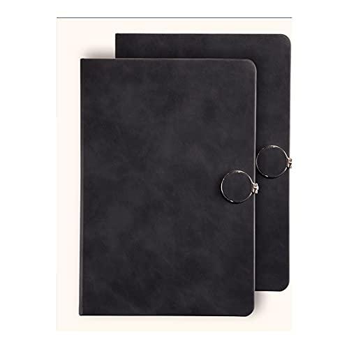 Cuaderno Classic Horizontal Line Journal Funda Dura, Diario Creativo Lindo Adecuado para reuniones de Trabajo de Registro Notas de Aula (Color : Black)