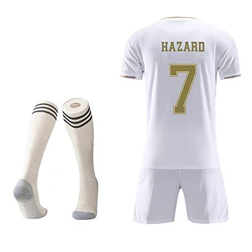 MRRTIME Fußballbekleidung Fußballtrikot für Kinder von 2 bis 14 Jahren, Madri-Fantrikot, Kurzarm-Fußballanzug für Heim- und Auswärtsspiele für Kinder von 19 bis 20 Jahren + Fußballsocken-White 7-26