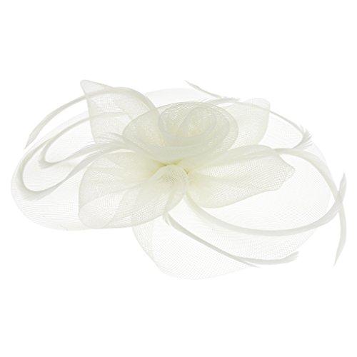 FakeFace Tüll Fascinator Hüte mit Feder,Blumen Haar Clip Haarreif Haar Accessoire Schleier Tea Party Hochzeit Kirche Haarschmuck, M, Beige