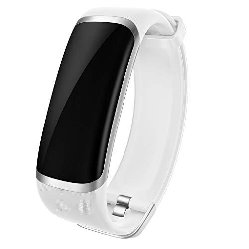 Muamaly Fitness Armband Herzfrequenz, Smart Armband Fitness Tracker Sport Uhr Wasserdicht Ip67, Smartwatch Stoppuhr Schrittzähler Herzfrequenz Blutdruckmesser Vibrationsalarm Für Damen Herren (Weiß)