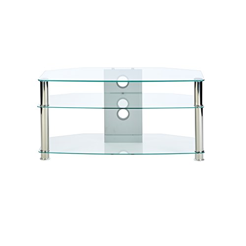 MMT WIL - CL1000 Clear Glass TV Stand - Suits 32 to 47 inch LCD LED 3D plasma flat screen televisions - 1000mm wide