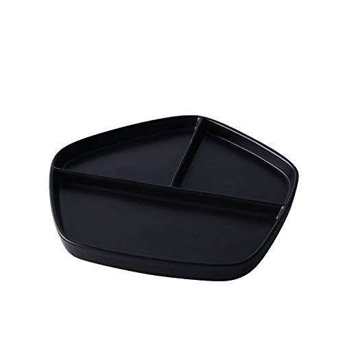 ShiSyan Cerámica GYHJGJapanese-Estilo de cuadrícula Desayuno Home Plate arroz Plato de Carne Occidental Plato Sencillo Postre Placa de la Fruta 21,5 * 20 * 2cm Platos