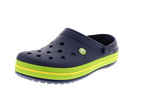 Crocs Crocband Clog Unisex - Adulto A collo basso, Ciabatte, Blu (Navy/Volt Green/Lemon), 43/44 EU