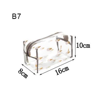Frauen-freier PVC-kosmetische Speicher-Beutel-bewegliches Spielraum-Wasserdichtes Kulturbeutel Wasch Makeup Gepäck Organizer Zubehör (Color : B7)