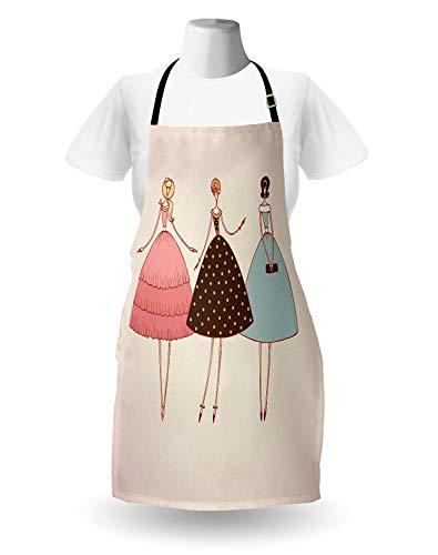 WELQUN Schürze Aprons Art Und Weiseschürze Künstlerisches Gekritzel des DREI Altmodischen Mädchens, Das Romantische Retro Kleiderbild-Küchen-Schellfisch-Schutzblech Kocht Das Backen Trägt