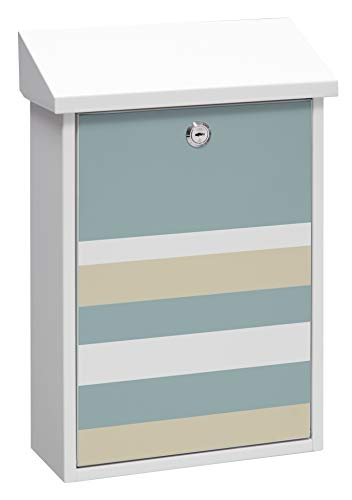 Arregui Premium Graphic E5601-STR Individueller Briefkasten aus Stahl mit dekorativem Lines, Größe M (DIN A4 und Zeitschriften), Weiß mit Siebdruck, 47 x 27 x 11 cm