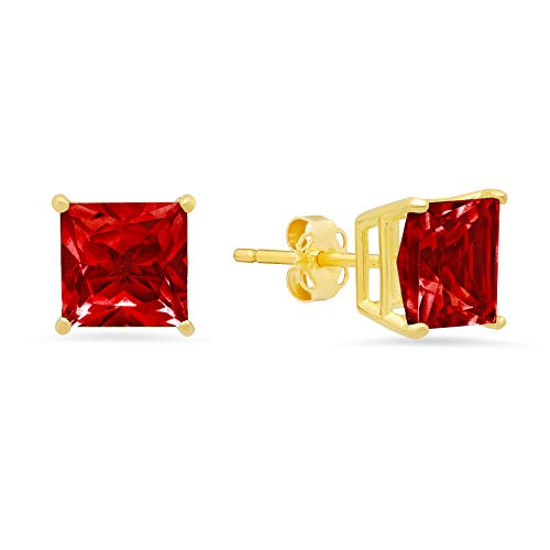 14k Yellow Gold Solitaire Princess-Cut Created Ruby Stud Earrings (7mm)