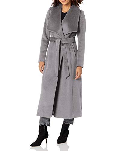 Cole Haan Women's Slick Wool wrap Coat, MED Grey, 6