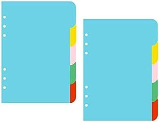 XLKJ Lot de 2 Intercalaires A5, Feuillets Intercalaires pour Petit Classeur à Anneaux A5 Papier de Séparation à 6 Trous