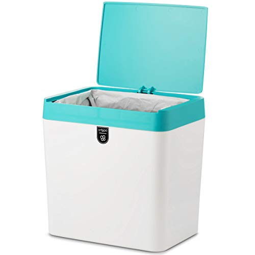 Crippa Countertop Trash Can | Mini Trash Can with Lid | 1.5 Gallon Small Trash Bin | Kitchen Countertop, Table, Bathroom, Office, Desk Trash Can | Plastic Bathroom Wastebasket | White/Turquoise
