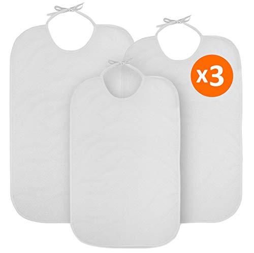 OrtoPrime X3 Babero Adulto Impermeable RIZO + PVC Baberos para Personas Mayores Impermeables y Reutilizables - Baberos para Adultos Pack 3 UNIDADES