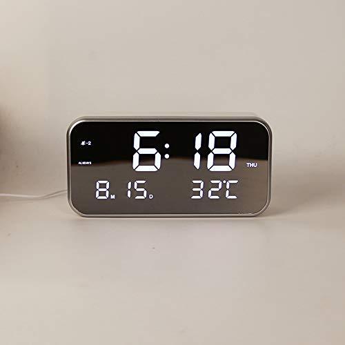 DYHM wekker Grote Digitale LED Muziek Alarm Klok Met 25 Liedjes Clear Mirror Display Met Maand Datum Week Temperatuur