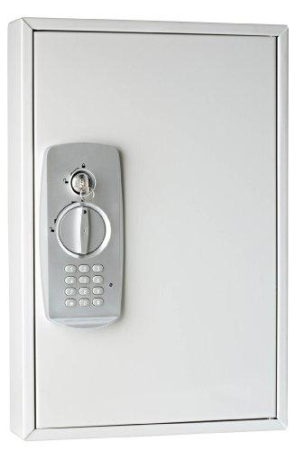 Wedo 10263237 Schlüsselschrank (für 32 Schlüssel, pulverbeschichtetes Stahlblech, mit modernem Elektronikschloss und zusätzlichem Standardschloß inklusive 2 Schlüssel) lichtgrau
