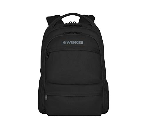 Wenger 600630 FUSE 16' Laptop Backpack , Padded laptop compartment with iPad/Tablet / eReader Pocket in Black {20 Litres}