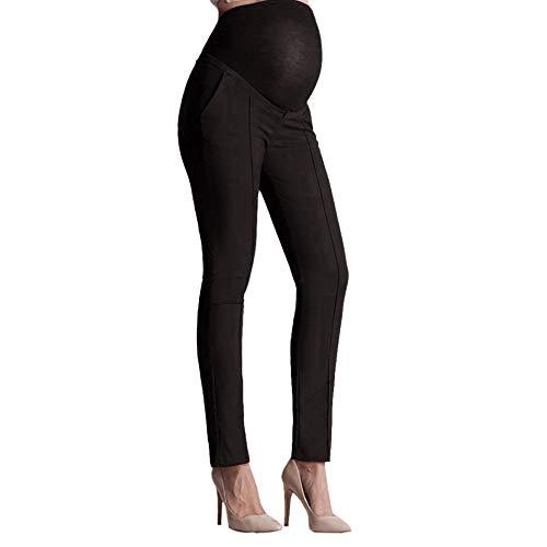 Covermason Pantalon de maternité pour Femmes Enceintes DéContractéE Stretch Pantalon Maternité Enceinte Grossesse Longue Leggins Haute Taille Couvrant Le Ventre Pants Pantalon Crayon (XL, Noir)