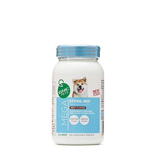 GNC Pets Ultra Mega Stool - No! Chewable Tablets Dog Supplement - Beef Flavor - No Stool Eating For Dogs Pet Supplement Supports Intestinal Health - Dog Stool Eating Deterrent- 120 count