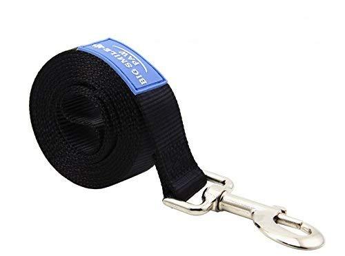 BIG SMILE PAW Dog Leash Nylon Durable Loop Handle,5 Foot Long 1 Inch Wide (Black)