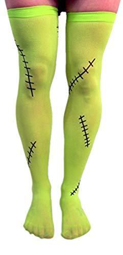 Grünes Frankenstein Monster Oberschenkelhoch Halloween Strumpfhose Kostüm Zubehör