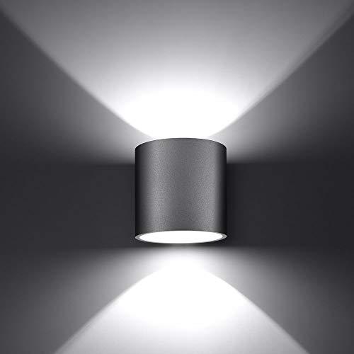 famlights Wandleuchte Christina aus Aluminium, Grau | Wandstrahler Uplight Downlight Kinderzimmer-Leuchte Flur-Leuchte Küchen-Leuchte Esszimmer-Leuchte Esszimmer-Lampe einfach schlicht Treppe G9