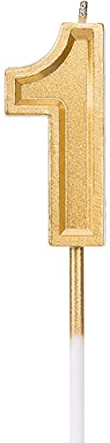 LUTER Gold Glitter Happy Birthday Cake Candles Number Candles Number 1 Birthday Candle Cake Topper Decoration for Party Kids Adults
