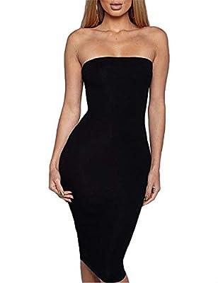 Haola Women's Tube Top Dresses with Sleeveless Sexy Bodycon Dress
