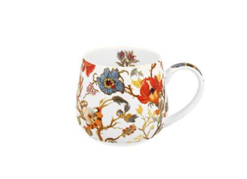 Duo Tee-Tasse Teebecher Set mit Teesieb Edelstahl und Deckel Porzellan Teetasse bauchig mit Sieb Blumen Cup with Tea Infuser 400 ml 3teilig in Geschenkbox Kräuter-Teetasse (Secret Garden OHNE Filter)