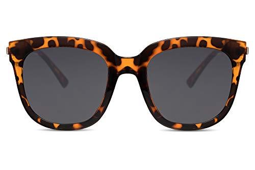 Cheapass Gafas de Sol Mujer Gafas Oversize Montura Leopardo con Cristales Oscuros Protección UV400