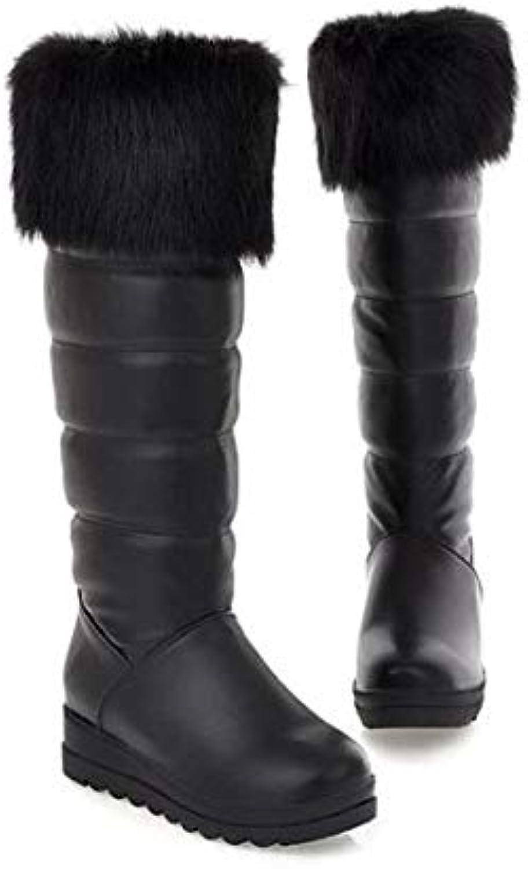 Top Shishang Winter Warm Lined mid-Waist Calf Boots Women's Snow Boots Martin Boots, Black, 37