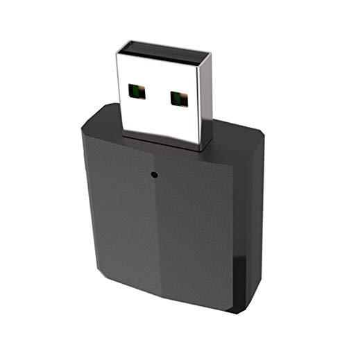 rongweiwang Negro Bluetooth 5.0 Receptor inalámbrico Bluetooth del teléfono Adaptador de Ruido o Transmisor Adaptador de 3,5 mm AUX Música de Coches