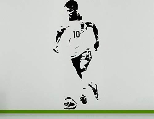 Neymar da Silva Brasilianischer Fusballspieler Fußballspieler Wanddekoration Aufkleber - Silbern, 84 cms wide x 201 cms high
