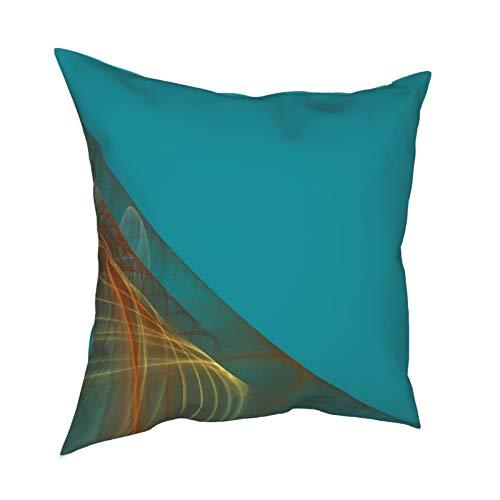 Funda de cojín reversible de color azul aguamarina con diseño de fractal, decorativa, cuadrada, funda de cojín para sofá, dormitorio, 45,7 x 45,7 cm