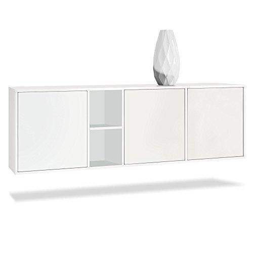 Vladon Sideboard Kommode Cuba, Korpus in Weiß matt/Fronten in Weiß matt