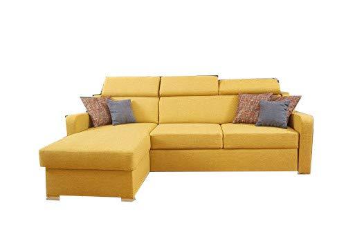 MOEBLO Ecksofa mit Schlaffunktion mit Bettkasten Sofa Couch L-Form Polstergarnitur Wohnlandschaft Polstersofa mit Ottomane Couchgranitur mit Bettfunktion - Penny (Gelb, Ecksofa Links)