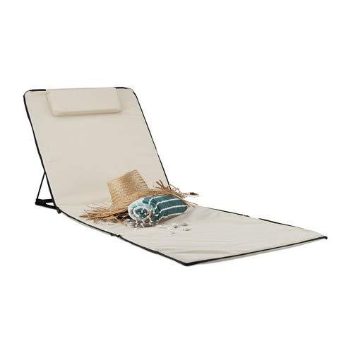 Relaxdays 10023465 Matelas de plage XXL rembourré dossier pliable sac de transport oreiller, beige