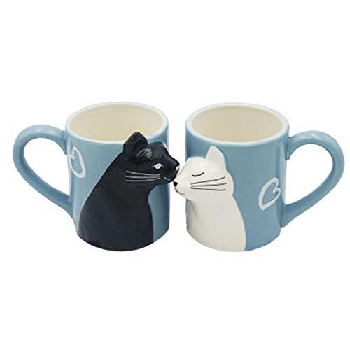 Kuss Katze Kaffee Paar Becher Set, einzigartige lustige Tee Keramik Tasse Set für Braut und Bräutigam, passendes Geschenk für Geburtstag, Jubiläum, Hochzeit, Verlobung Valentinstag Freundin Frau