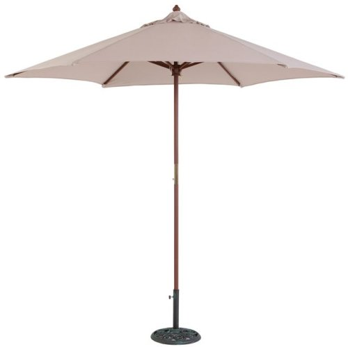 Tropishade 9 ft Wood Market Umbrella with Beige Polyester Cover