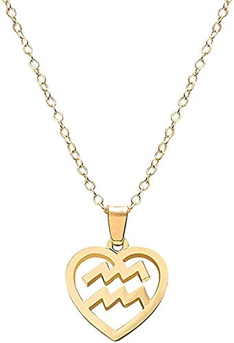 LKLFC Collar Mujer Collar Hombre Collar 12 Constelación Colgante Gargantilla Collar Forma de corazón Hueco Signo del Zodiaco Collar de Cadena de clavícula Joyería Unisex Regalo Niñas Niños Collar
