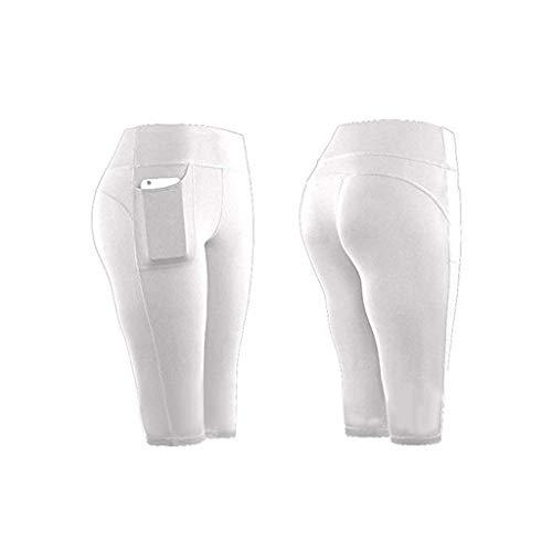 Whear - Pantalones cortos de yoga de cintura alta para mujer, control de barriga, entrenamiento atlético, correr, ciclismo, pantalones cortos con bolsillos laterales, Blanco, Large