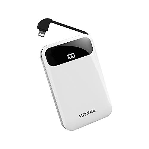 MRCOOL モバイルバッテリー ケーブル内蔵 10000mah 薄型 軽量 小型 大容量 ミニ LED残量表示 急速充電 携帯充電器 PSE認証済み iPhone/Android各種対応 (ホワイト)