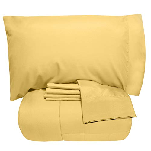 Sweet Home Collection 5 Piece Comforter Set Bag Solid Color All Season Soft Down Alternative Blanket & Luxurious Microfiber Bed Sheets, Twin, Yellow