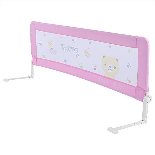 Barrera de cama, plegable y portátil, para niños, protección de caída, barrera de seguridad, barrera para cama de niños, protección extraíble para cama infantil 180cm Rosa