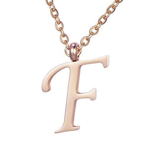 Morella Women's Stainless Steel Necklace Rose Gold with Pendant Letter F