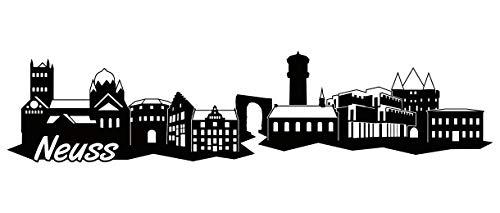 Samunshi® Neuss Skyline Wandtattoo Sticker Aufkleber Wandaufkleber City Gedruckt Neuss 120x28cm schwarz