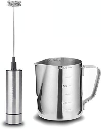 WADEO Mousseur à lait électrique - Pistolet à mousse électrique puissant en acier inoxydable à tête battante à double ressort + Pichet à mousse en acier inoxydable 304 (350 ml) + tête de brosse