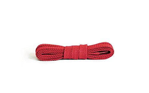 Kaps Flache Schnürsenkel, hochwertige strapazierfähige 100% Baumwolle Schnürsenkel, hergestellt in Europa, 1 Paar, viele Farben und Längen (120 cm - 6 bis 8 Ösenpaare / 31 - rot)